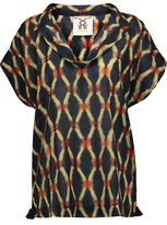 Figue Ava Draped Printed Cotton-Blend Broadcloth Top