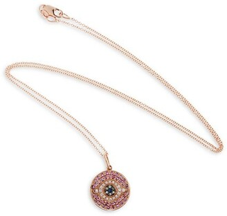 Ileana Makri Evil Eye 18K Rose Gold, Diamond & Multi-Stone Pendant Necklace