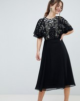 Asos Design DESIGN midi dress with flutter sleeve and pretty floral embellishment