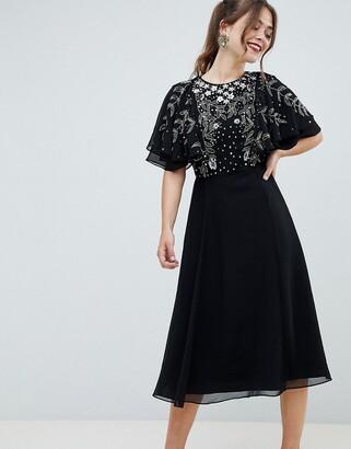 Asos Design DESIGN midi dress with flutter sleeve and pretty floral embellishment-Black