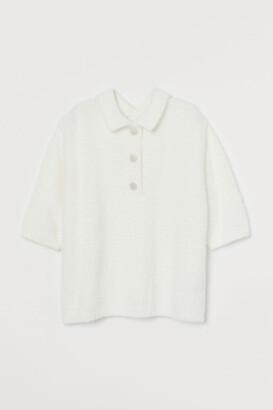 H&M Rhinestone-button Fluffy Top
