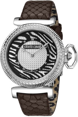 Roberto Cavalli Women's Crystal Embellished Embossed Leather Strap Watch, 38mm