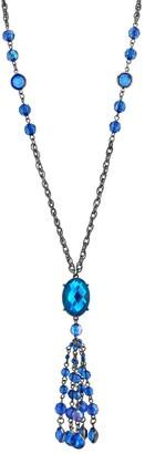 1928 Black-Tone Sapphire Blue Tassel Necklace