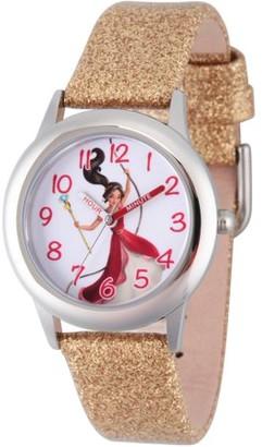 Disney Elena of Avalor Girls' Stainless Steel Time Teacher Watch, Red Bezel, Gold Glitter Leather Strap