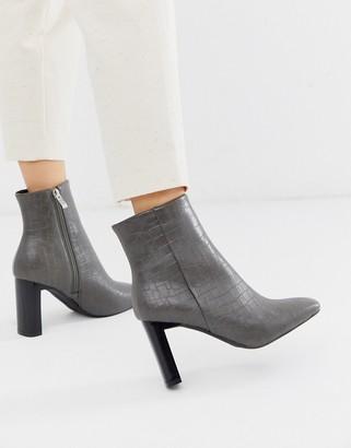 Raid RAID Zadie grey croc heeled ankle boots