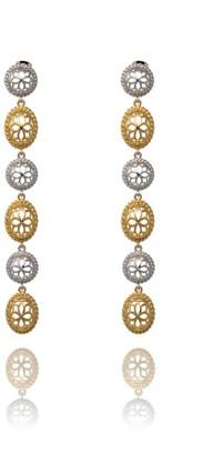 Georgina Jewelry Two Tone Signature Long Earrings