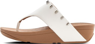 FitFlop Olive Art-Stud Leather Toe-Post Sandals