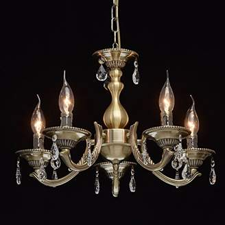 clear Classic elegant chandelier candles, brass coloured metal, crystal pendant, 5-flame, living room/dining hall exkl.5 x 60 W/E14.