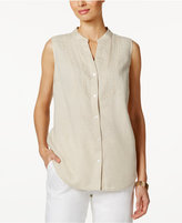 Charter Club Linen Embroidered-Bib Shirt, Only at Macy's