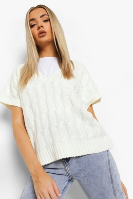 boohoo Cable Knitted Crop Tank