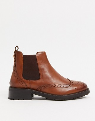 Dune flat brogue detail chelsea boots in tan leather