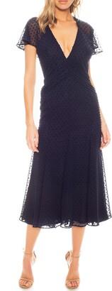 Katie May Flutter Sleeve Dot Chiffon Midi Dress