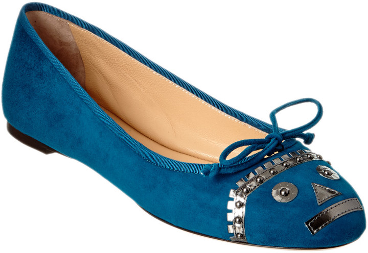 Charlotte Olympia Darcy Suede Flat