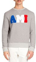 Ami Cotton-Blend Embroidered Sweatshirt, Heather Gray