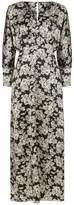 Phoebe Grace Sally V Neck Large Cuff Midaxi Dress in Busy Rose Print
