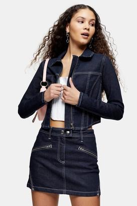 Topshop Womens Considered Indigo Denim Stretch Corset Jacket - Indigo Denim