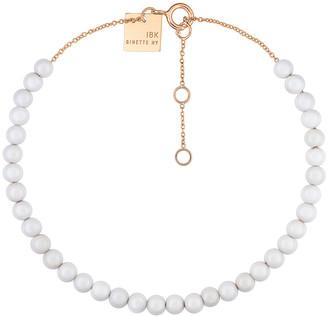 ginette_ny Mini Maria White Agate Beaded Bracelet - Rose Gold