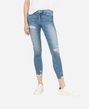 Flying Monkey Women's Mid Rise Distressed Skinny Crop Jeans