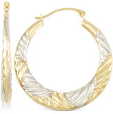 Macy's Two-Tone Textured Hoop Earrings in 10k Yellow and White Gold