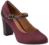 Clarks As Is Suede & Croco Leather Mary Jane Pumps - Bavette Cathy