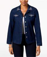 Alfred Dunner Petite Montego Bay Embroidered Denim Jacket