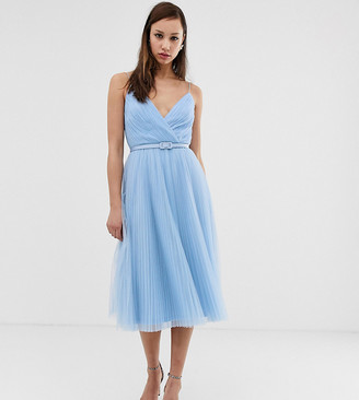 Asos Tall DESIGN Tall belted pleated tulle cami midi dress-Blue