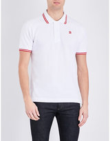 Bally Striped Collar And Cuff Pure Cotton Polo Shirt