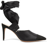 Alexandre Birman Lace-up Silk-satin And Suede Pumps - Black
