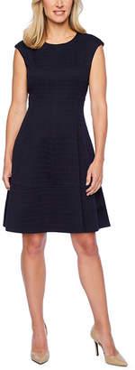 Liz Claiborne Short Sleeve Plaid Fit & Flare Dress