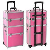 Radical Deal 2-wheel 3-in-1 Professional Multifunction Artist Rolling Trolley Makeup Beauty Train Case Cosmetic Organizer W/shoulder Straps (Pink)