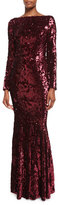 Talbot Runhof Lorena Sequined Long-Sleeve Gown, Red