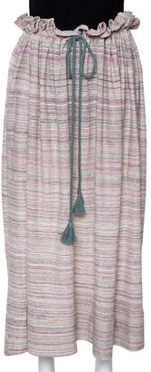 M Missoni Pale Green Striped Knit Ruffled Waist Midi Skirt M