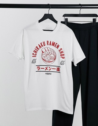New Look oversized t-shirt with ramen shop print in white