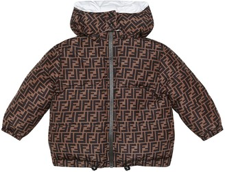 Fendi Kids Logo reversible down jacket