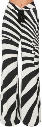 Roberto Cavalli High Waist Zebra Print Wide Leg Pants