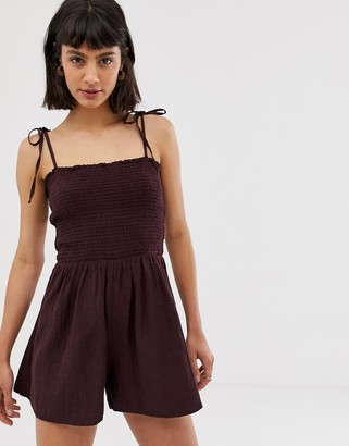 Weekday linen mix playsuit in burgundy-Red