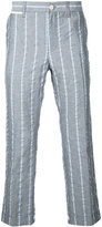 Sacai cropped stripe trousers - men - Cotton/Linen/Flax/Polyester/Cupro - 3