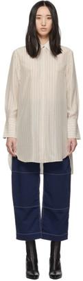 Chloé White and Brown Chain Stripe Silk Boyish Shirt