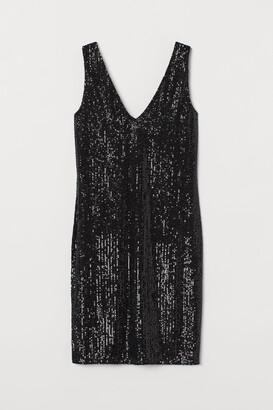 H&M V-neck Sequined Dress