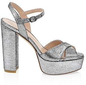 Stuart Weitzman Women's Soliesse Glitter Platform Sandals
