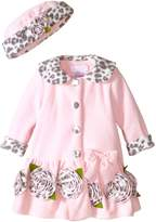 Bonnie Baby Baby-Girls Infant Leopard Trim Fleece Coat and Hat Set, Pink, 12 Months