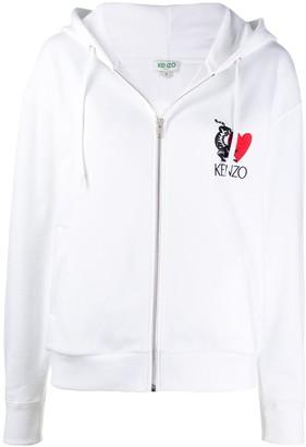 Kenzo Embroidered Zip-Through Sweatshirt