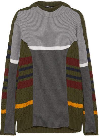 Y/Project Striped Wool-blend Dress - Gray