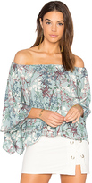 Krisa Off Shoulder Drape Top in Blue. - size L (also in M,S,XS)