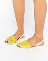 Park Lane Weave Leather Sling Flat Sandals