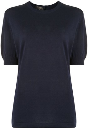 Chanel Pre Owned 1994 knitted puff sleeves T-shirt