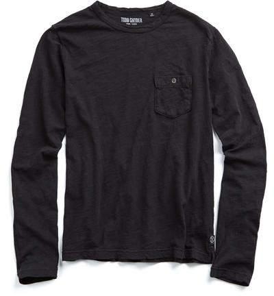 Todd Snyder Garment Dyed Long Sleeve Pocket Tee in Jet Black