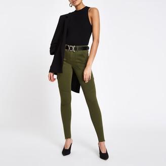 River Island Womens Khaki Amelie super skinny utility jeans
