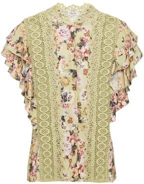 Charo Ruiz Ibiza Crocheted Lace-trimmed Floral-print Voile Top