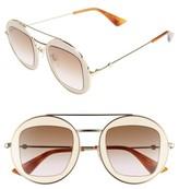 Gucci Women's 47Mm Round Sunglasses - Black-Ivory/ Grey